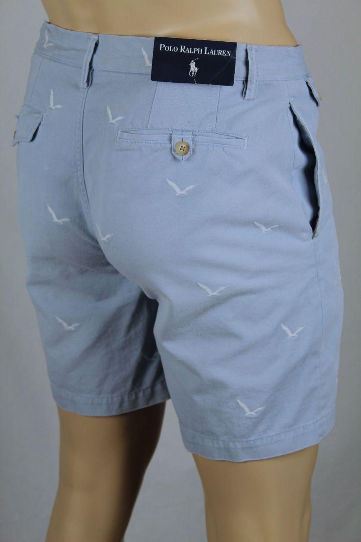 Polo Ralph Lauren Blue Nautical Seagull Slim GI Fit Chino Shorts NWT $98