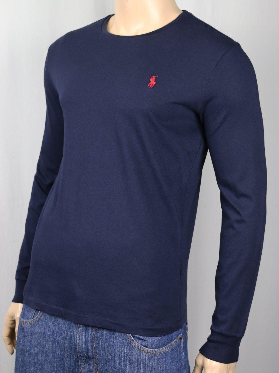 Polo Ralph Lauren Navy Blue Long Sleeve Custom Crewneck Tee T Shirt