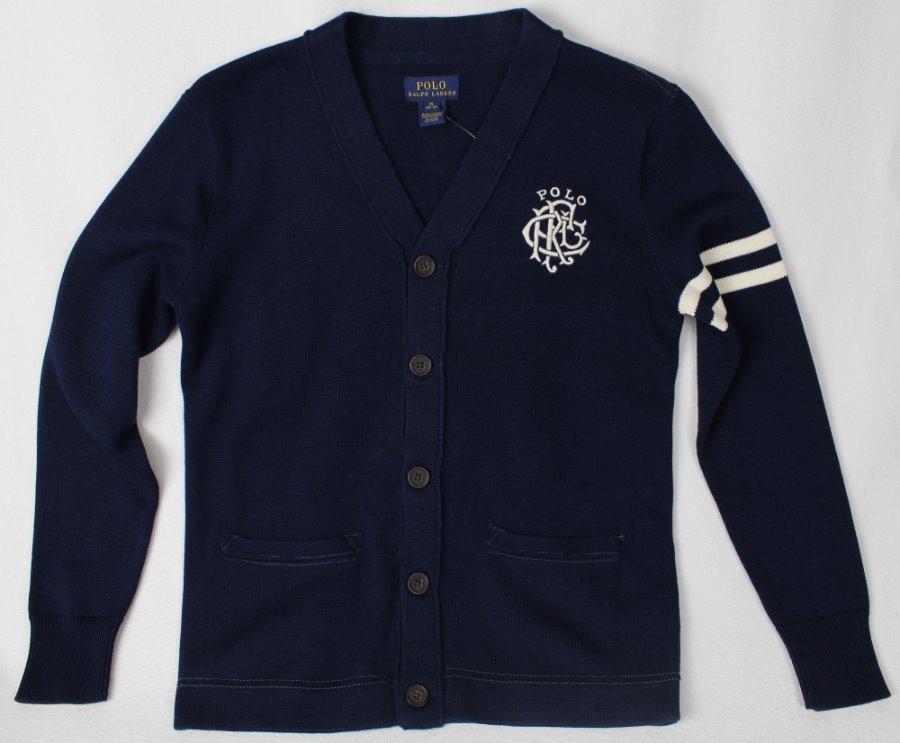 Bleu Crête Pull Sur Enfants Polo Lauren Étiquettes Ralph Neuf Détails Avec Marine Cardigan AR4jq35Lc