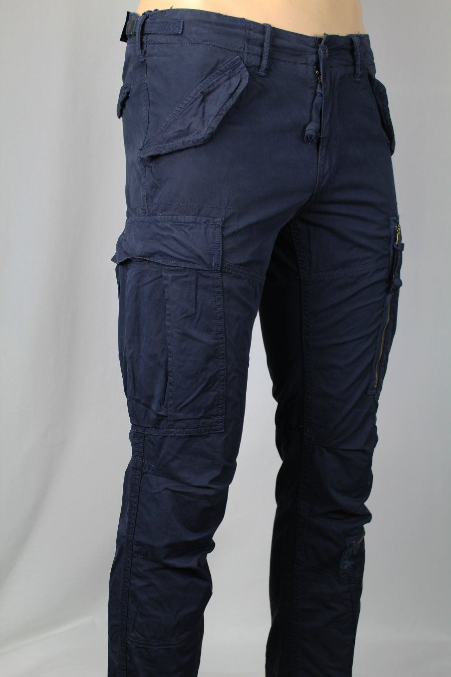 Cargo Straight Ralph Navy Zip Nwt Pants Polo Fit Snaps Lauren Blue L435jqAR