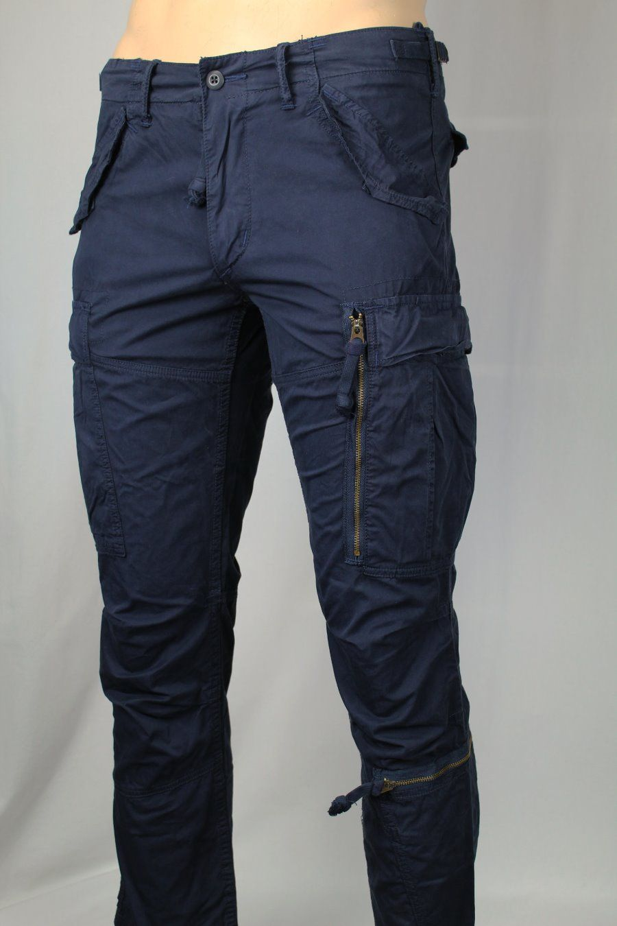 Polo Ralph Lauren Navy Blue Straight Fit Cargo Pants Snaps