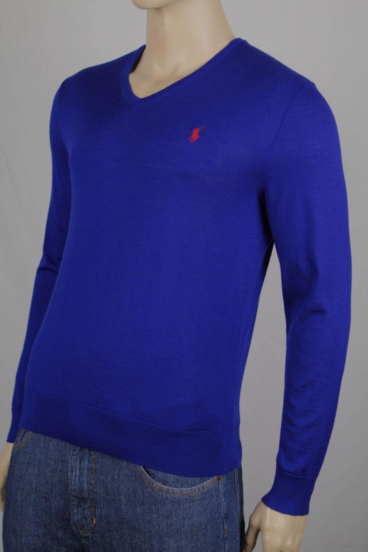 Ralph Lauren Herren Pullover Slim Fit Merino Wolle blau me