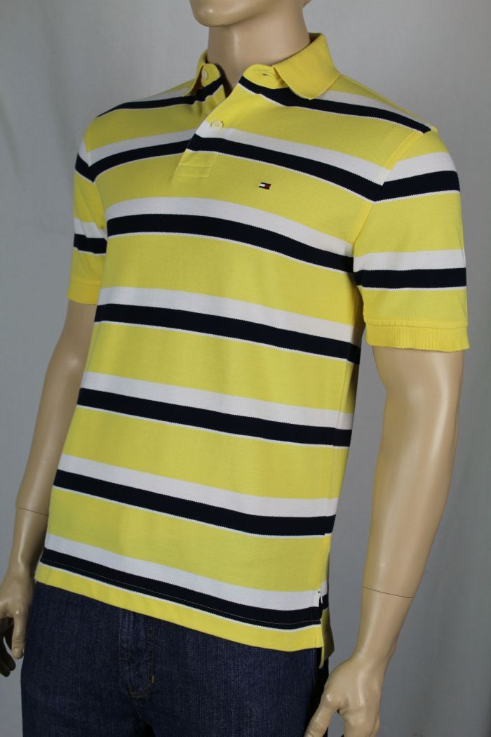 f45db280 Details about Tommy Hilfiger Yellow White Navy Blue Polo Shirt Stripes NWT  Small S