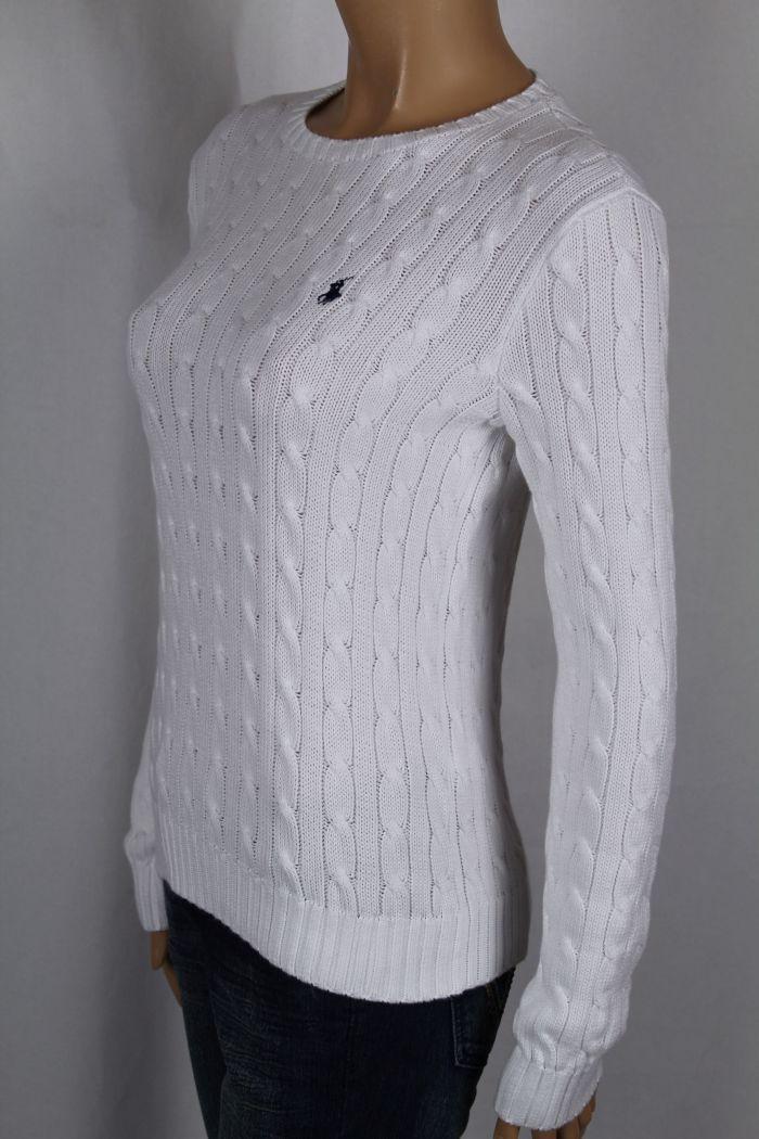 Ralph Lauren White Cable Knit Crewneck Sweater Navy Blue