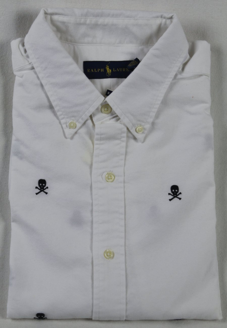Polo Ralph Lauren Classic Fit Long Sleeve Shirt Button Down Oxford Multi Skull