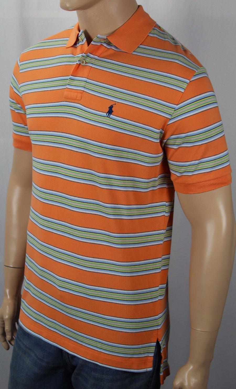 Polo Ralph Lauren Orange Classic Fit Mesh Shirt Yellow Pony NWT