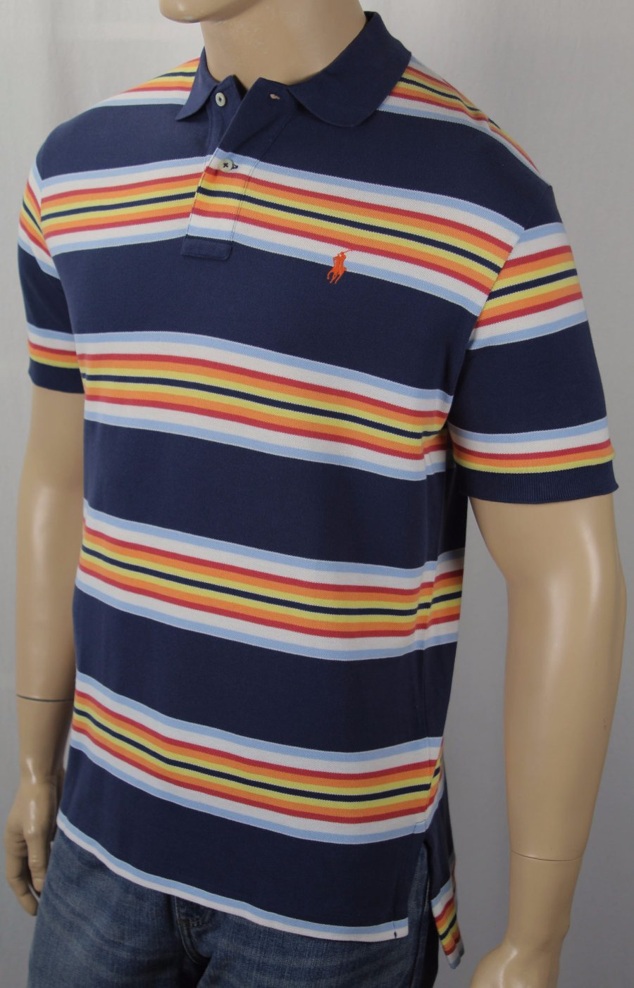 118c8bbbc Details about Polo Ralph Lauren Navy Blue White Striped Classic Fit Mesh  Shirt Orange Pony NWT