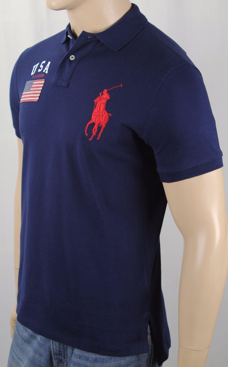 Polo Ralph Lauren Big and Tall Big BT-CAPE SHORT SLEEVE POLO SHIRT IN NAVY-RED