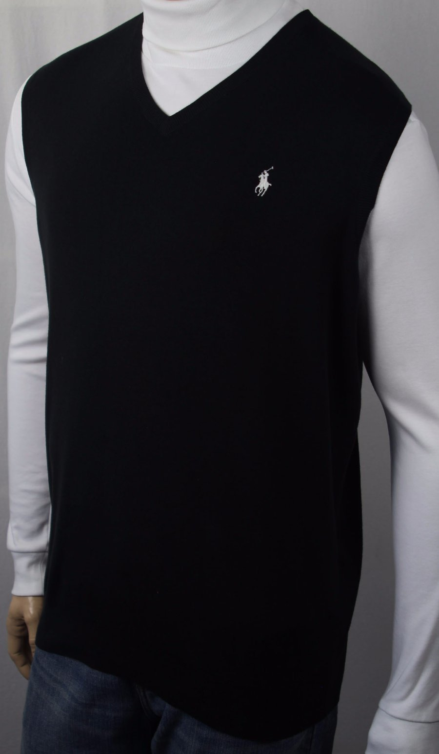Polo Ralph Lauren Black Pima Sweater Vest White Pony NWT