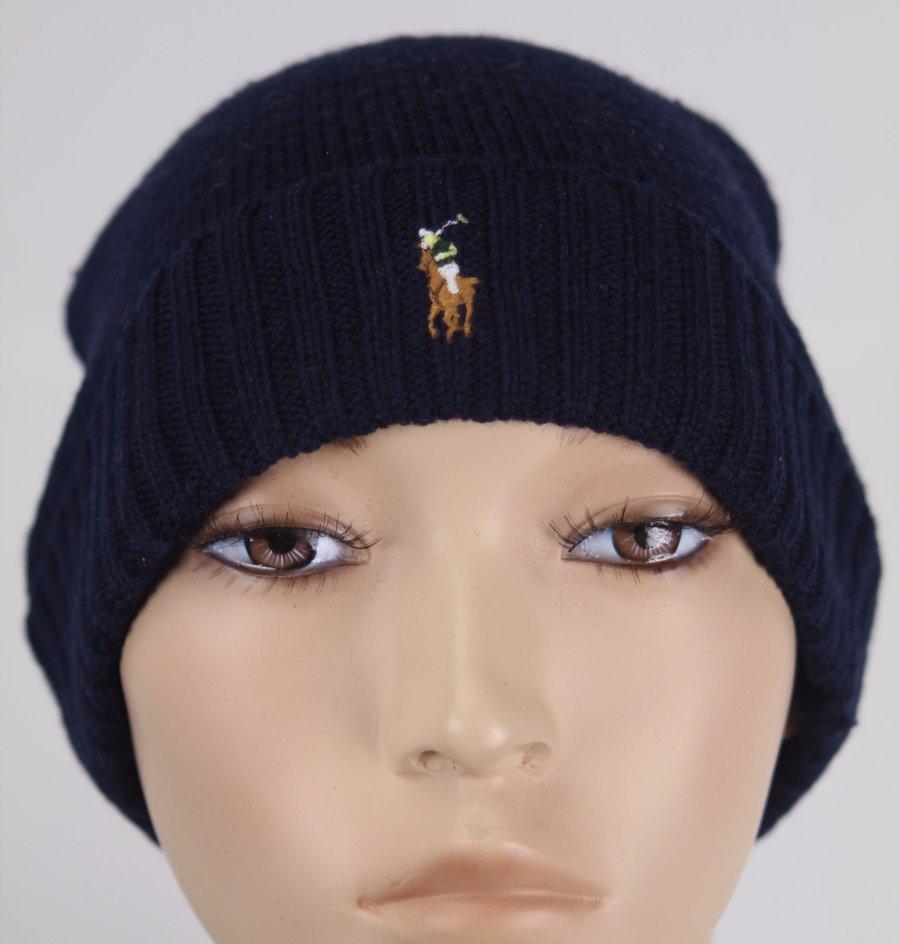 308fc8620 Polo Ralph Lauren Navy Blue Merino Wool Cuff Beanie Hat Skull NWT | eBay