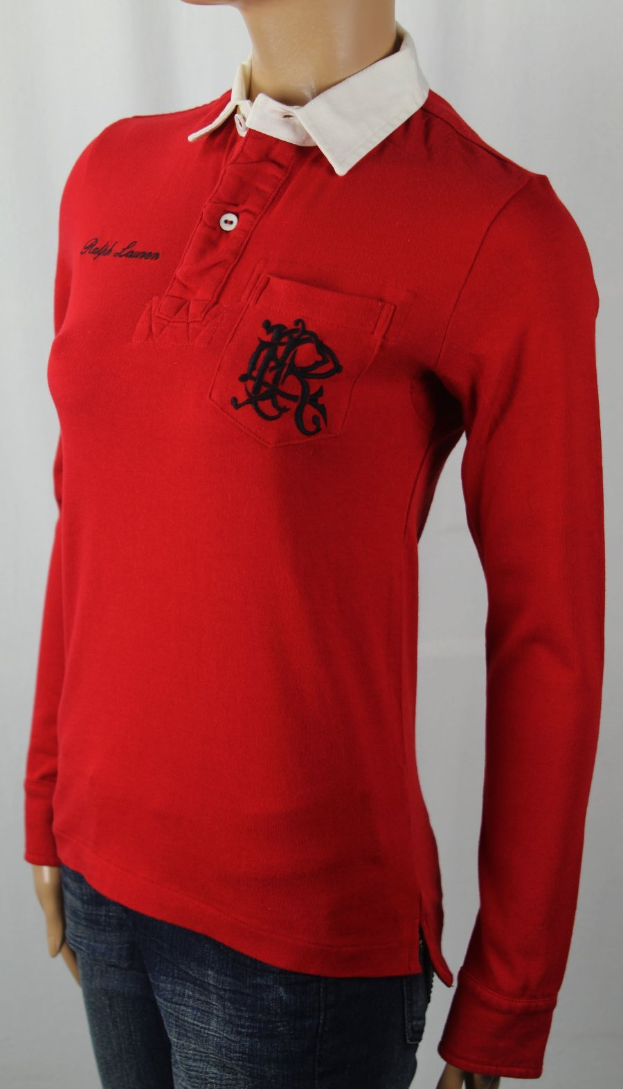 Ralph Lauren Red Long Sleeve Polo Rugby Shirt White Collar Pocket