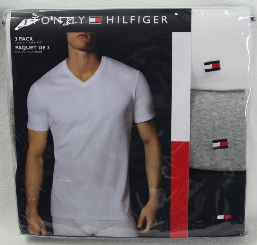 e4c75135 Details about Tommy Hilfiger 3 pack White Grey Navy Blue Classic V-Neck  T-shirts Tee NWT