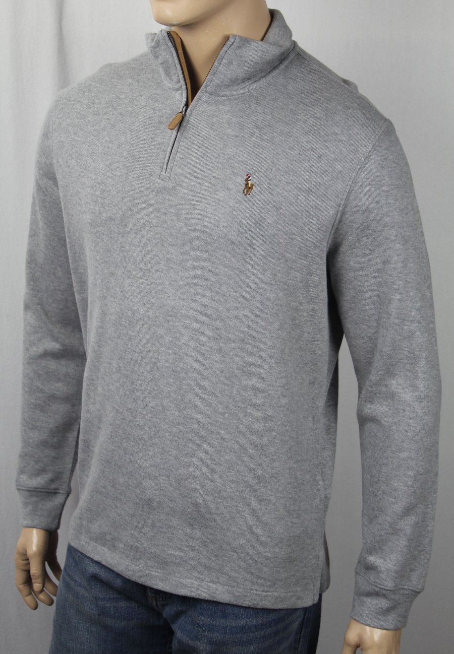 3577cf8a25f7 Details about Polo Ralph Lauren Light Grey Estate Rib Half Zip Sweater  Multi Color Pony NWT