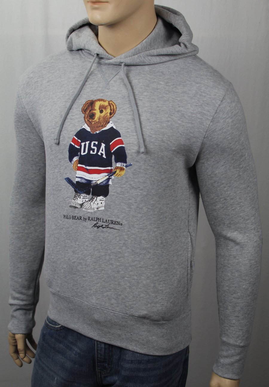 Polo Ralph Lauren Grey Hockey Teddy Bear Hoodie Pullover Fleece