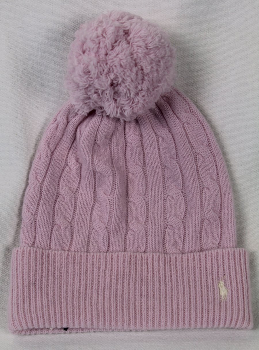 f7579ce4942 Details about Polo Ralph Lauren Pink Merino Wool Beanie Hat Cream Polo Pony  Logo NWT