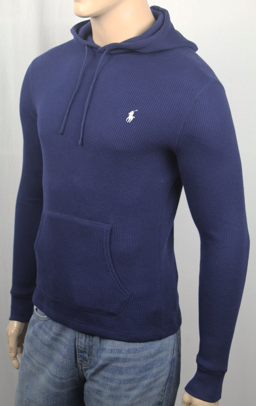 Navy Pullover White Lauren Polo Waffle Hoodie Thermal Ralph Blue sQxBtdrhC