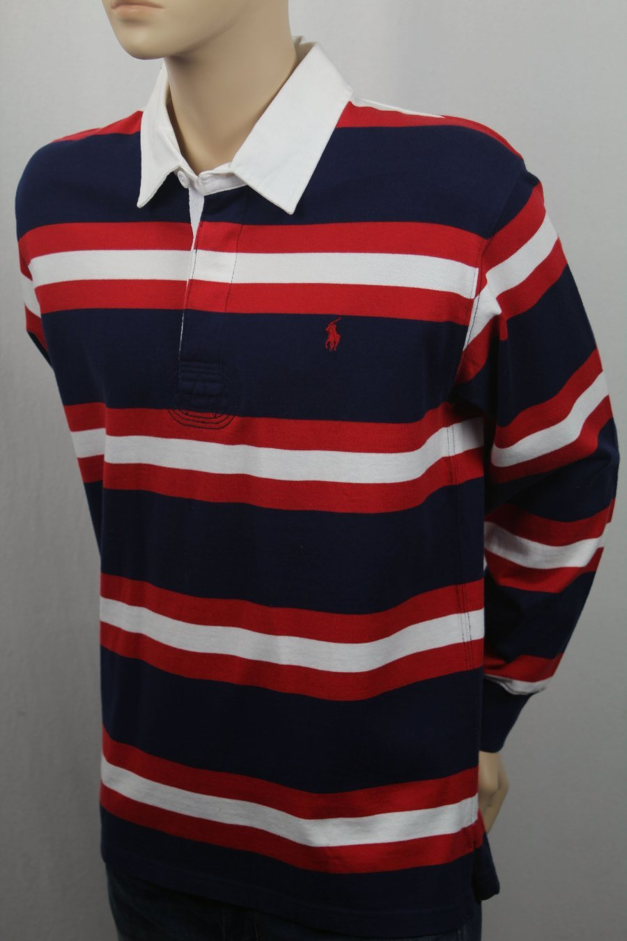 Red White Blue Long Sleeve Rugby Shirt