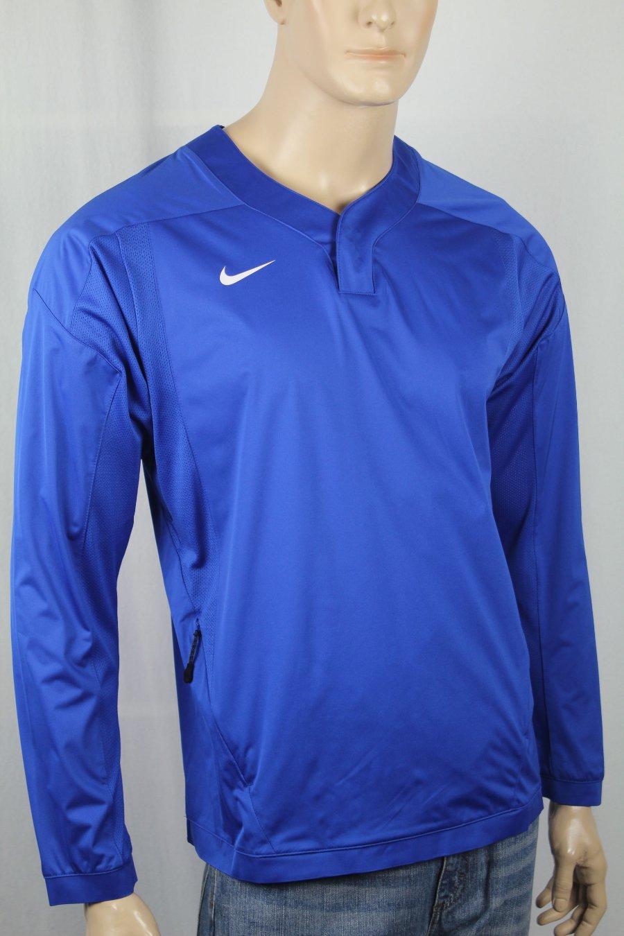 Détails sur Nike Royal Bleu Vapeur Manches Longues Baseball Vent Chemise Nwt 808188