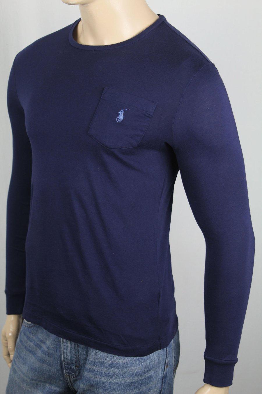 Ras T Shirt Fin Manches Lauren Personnalisé Ralph De Sur Détails Marine Longues Polo Cou thrsQdC
