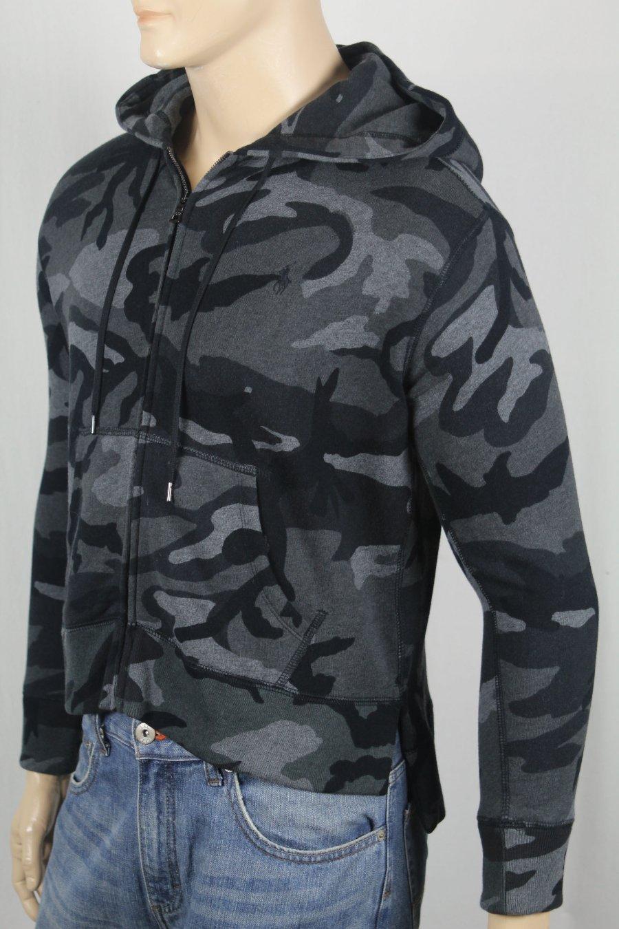 Detalles de Polo Ralph Lauren Gris Oscuro Negro Camuflaje Sudadera con Capucha