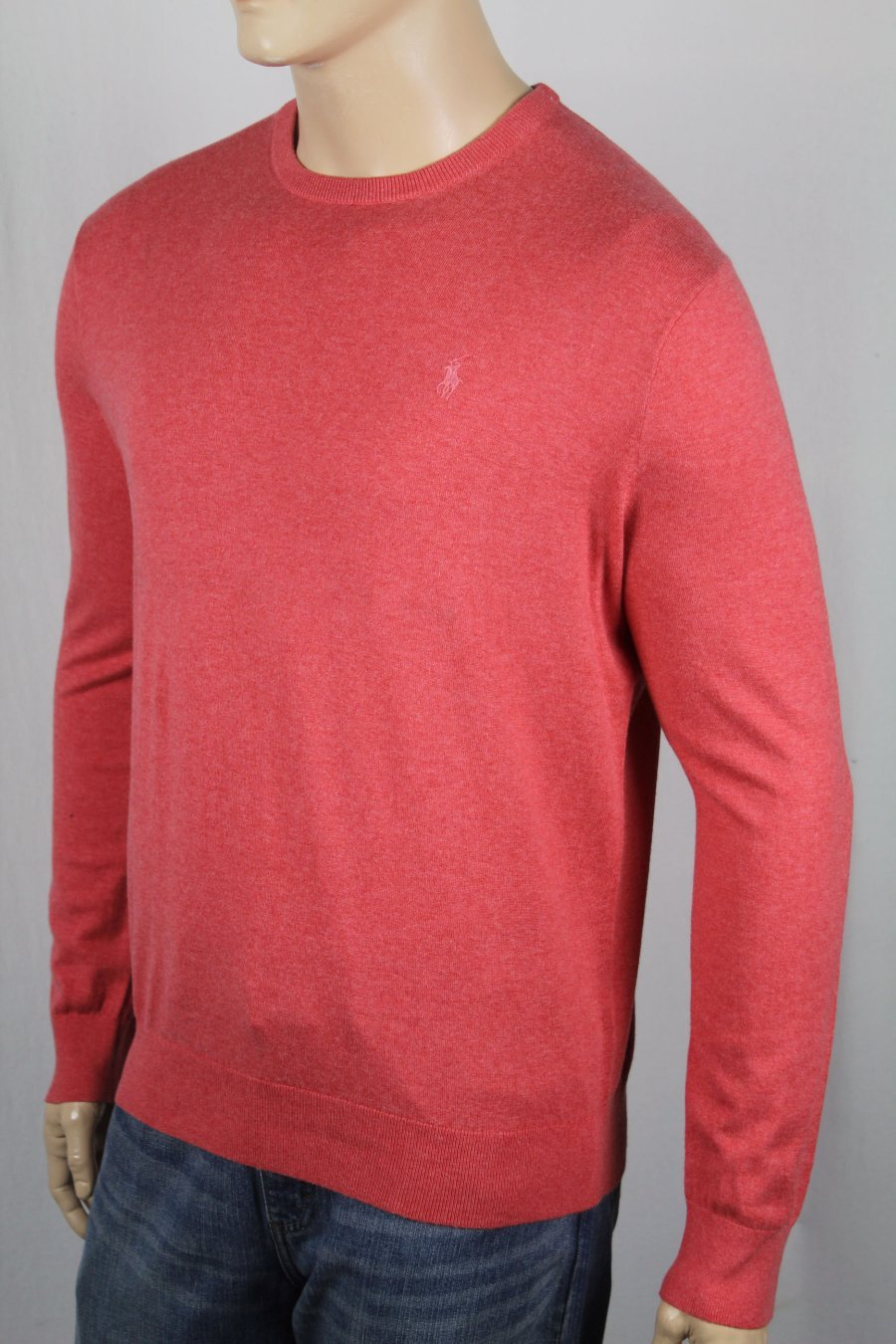 b38e9f54b Details about Polo Ralph Lauren Pink Heather Cashmere Cotton Crew Neck  Sweater NWT