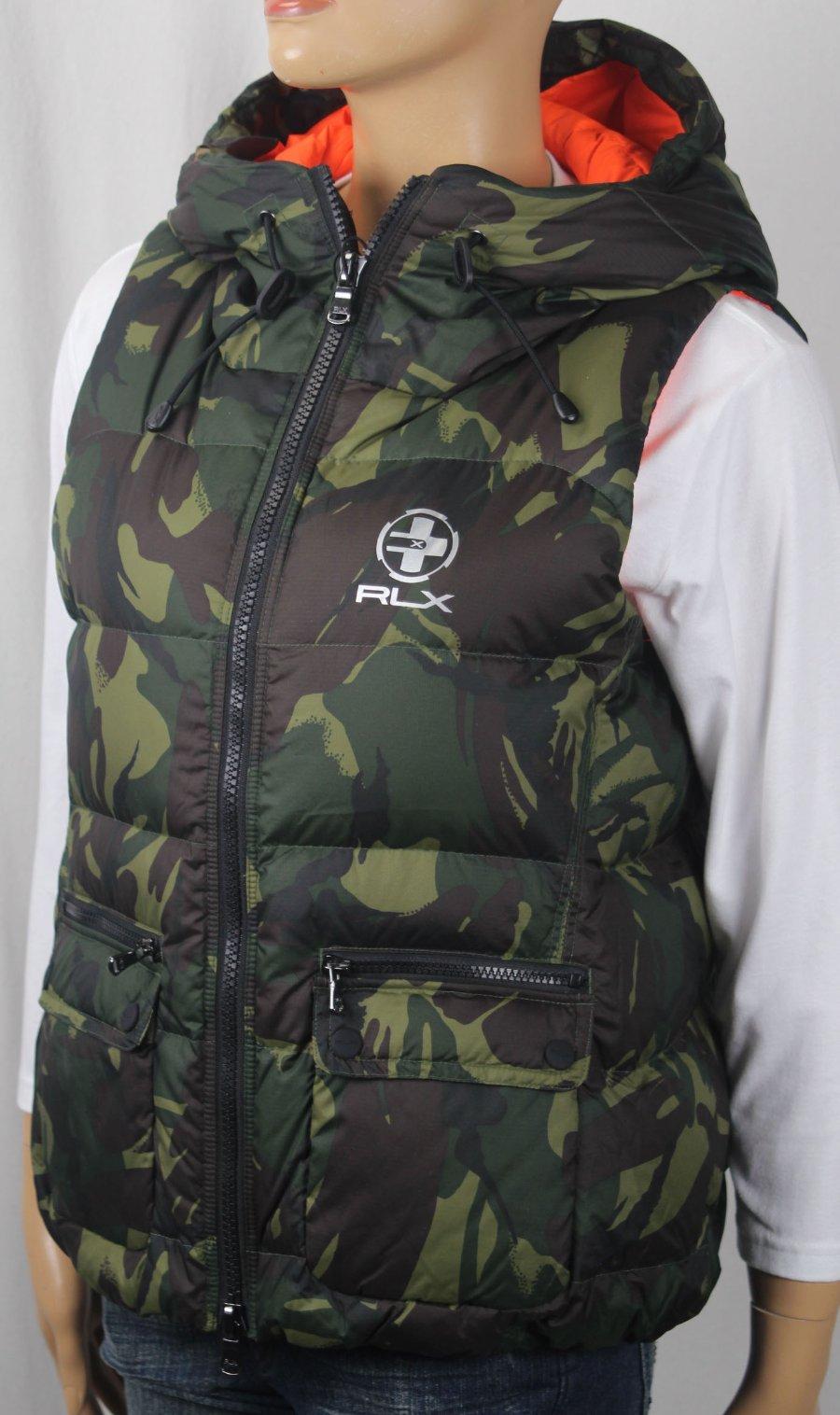 ef15d8ddcd Details about RLX Ralph Lauren Women Elmwood Camouflage Down Puffer Hooded  Vest NWT  298