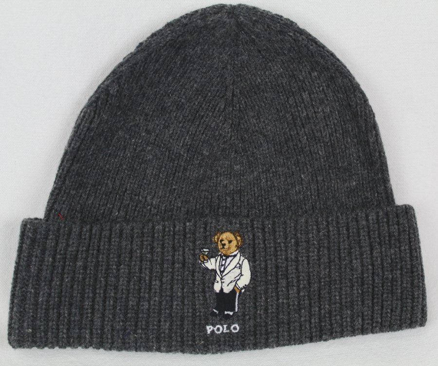 Polo Ralph Lauren Collectable Grey Teddy Bear Scarf Beanie Hat Skull ... c35d942ff9d
