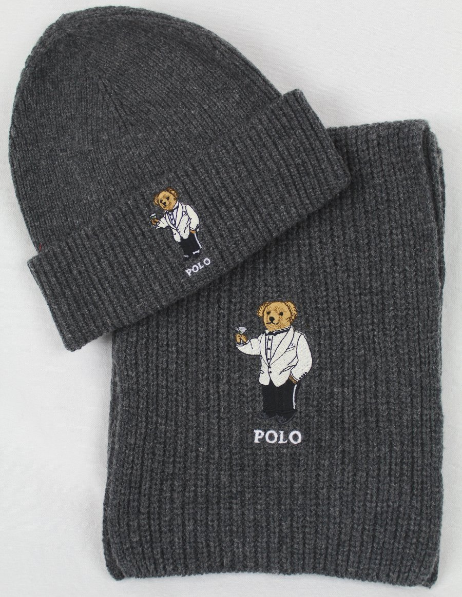 Details about Polo Ralph Lauren Collectable Grey Teddy Bear Scarf Beanie  Hat Skull Cap Set NWT 8a3c68c99f3
