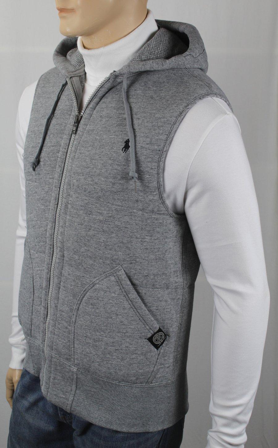 043649fe744 Polo Ralph Lauren Grey Quilted Hoodie Vest Zip Sweatshirt Black Pony ...