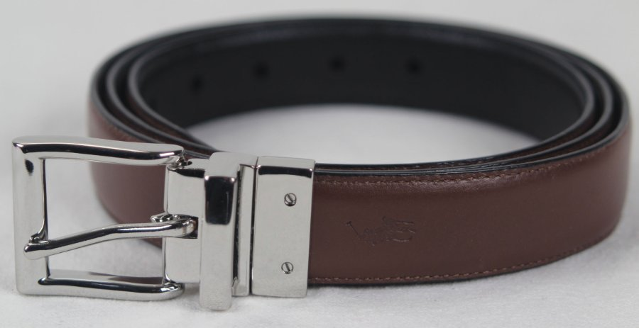 Polo Ralph Lauren Black Brown Reversible Leather Belt Silver Buckle NWT