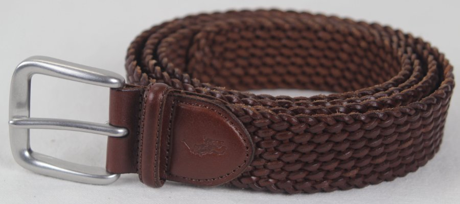 Details about Polo Ralph Lauren Brown Braided Leather Belt Silver Buckle NWT