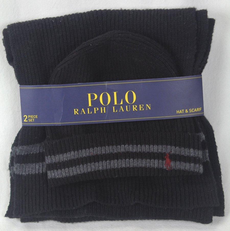 NWT AUTH POLO RALPH LAUREN MEN BEANIE HAT /& SCARF SET 2-PCS BLACK PONY LOGO WOOL