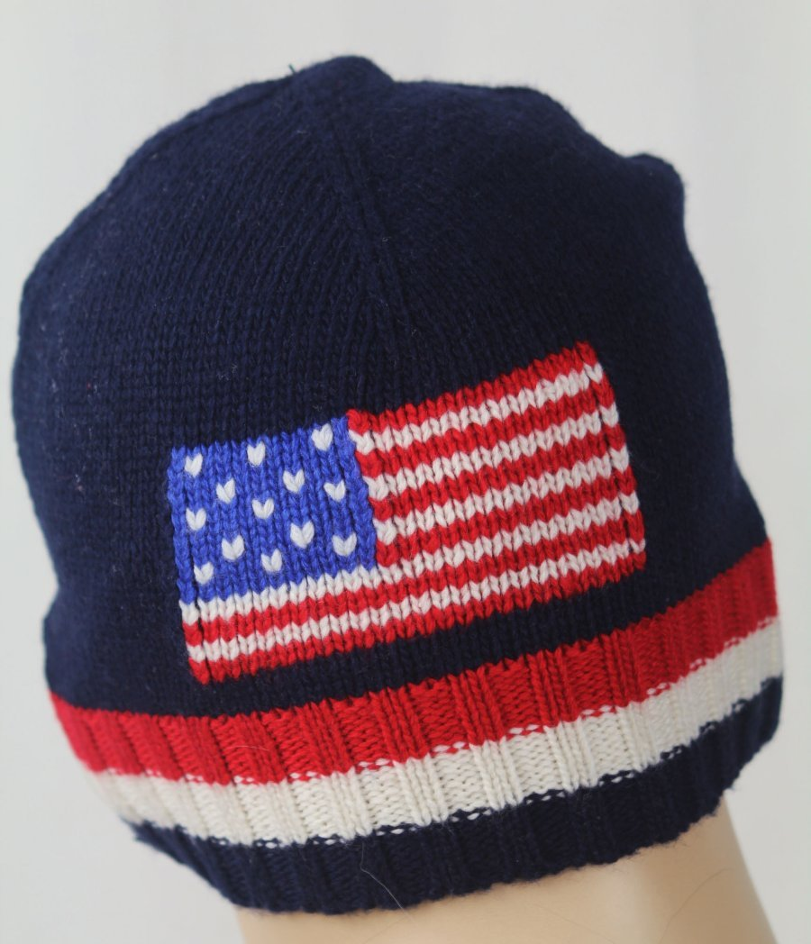 1471e1cdbbc Details about Polo Ralph Lauren Navy Blue Wool American Flag Beanie Skull  Hat Red Pony NWT