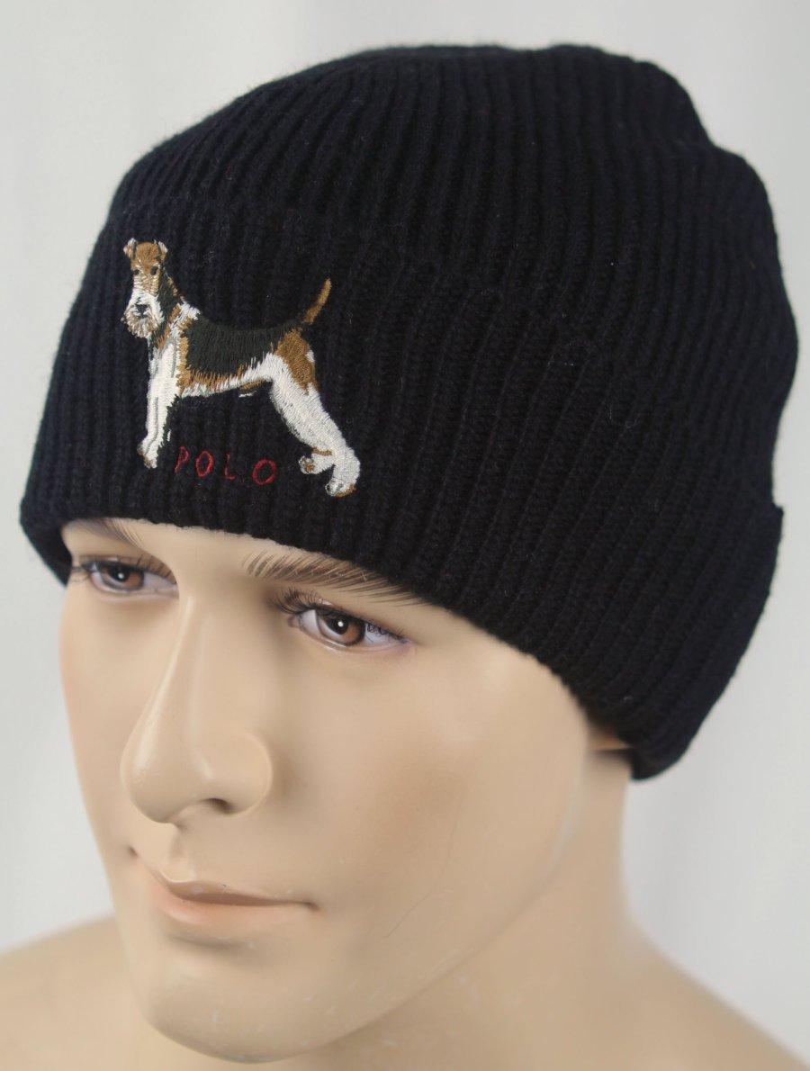 Black Terrier Dog Wool Beanie Hat