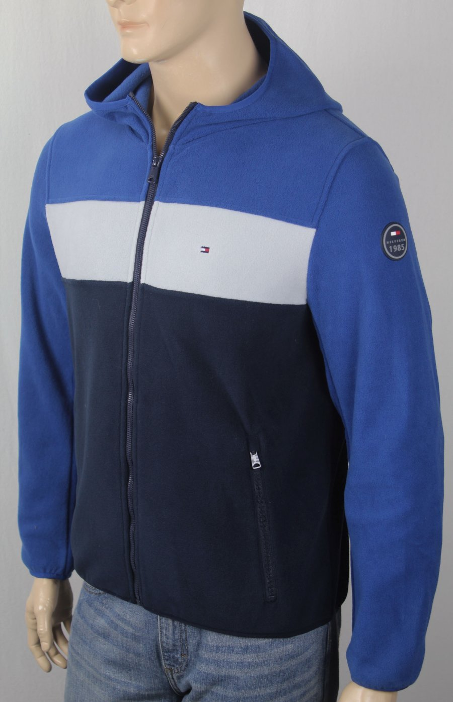 13f9048d17e451 Details about Tommy Hilfiger Blue White Navy Fleece Hoodie Full Zip Jacket  NWT  160