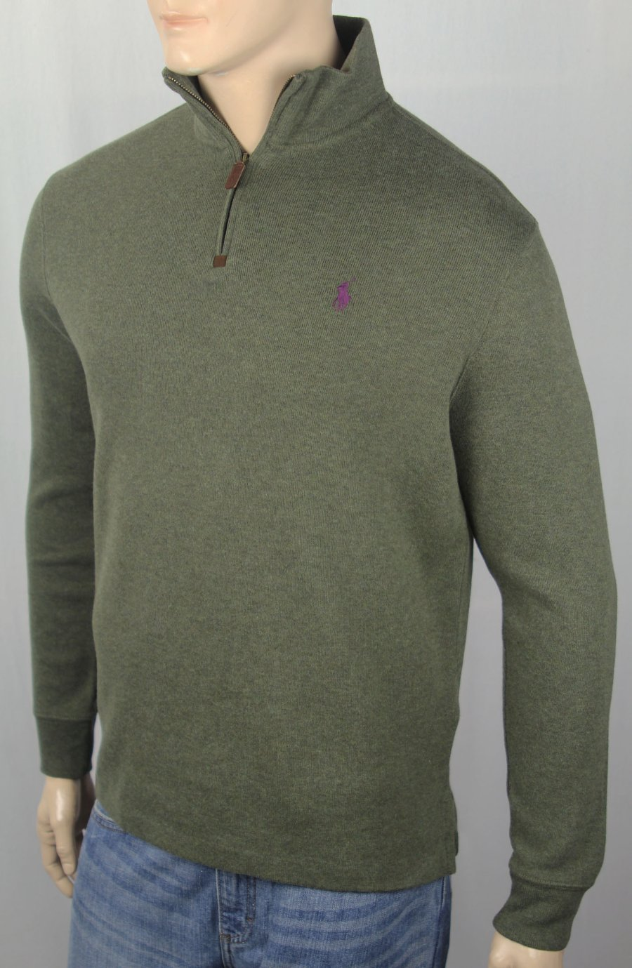 Ralph Details Sweater Pony Olive Green Polo Zip 12 Lauren Nwt About Plum Half TlFJ15uKc3