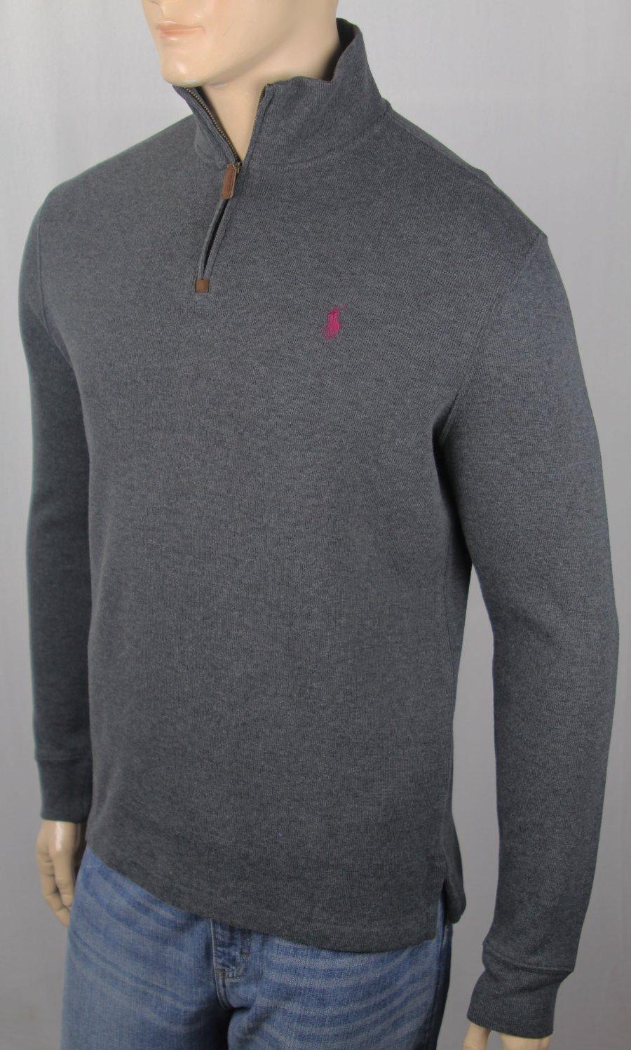 Polo Ralph Lauren 1//2 Half Zip French Rib Sweater $115 Green Red Blue w Pony NWT