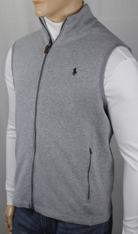 Polo Ralph Lauren Grey Full Zip Sweatshirt Track Jacket Navy Blue Pony NWT