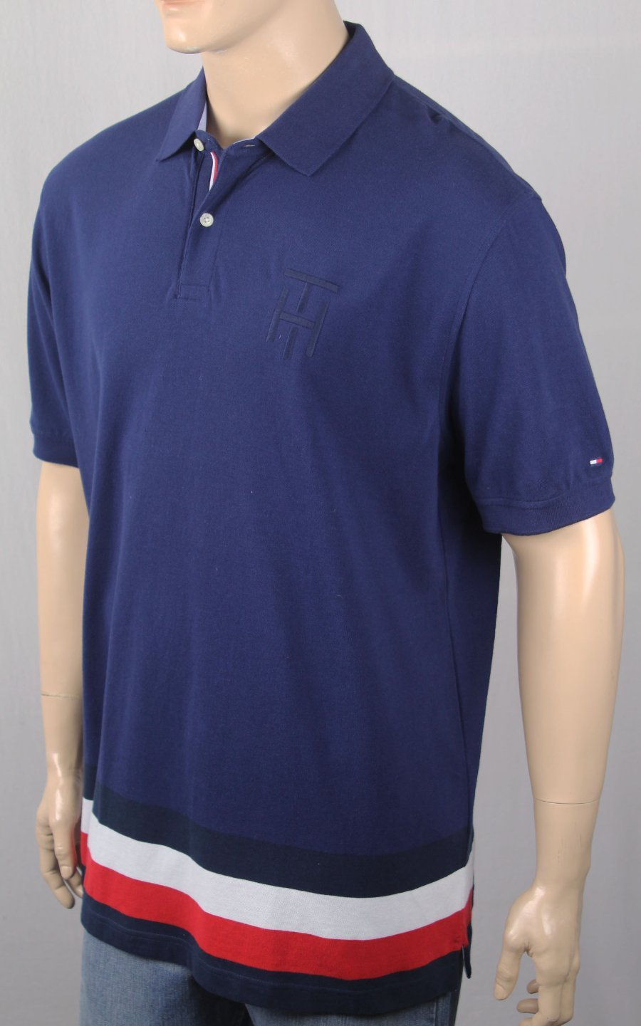 41afef50 Details about Tommy Hilfiger Navy Blue Custom Fit Polo Mesh Shirt NWT