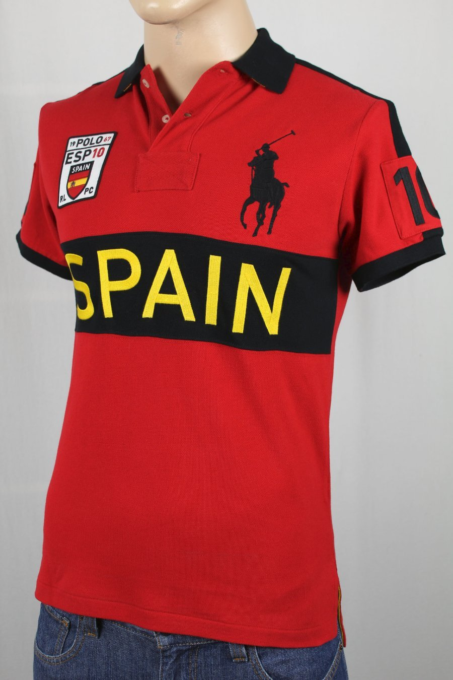 076d5f4af Details about Ralph Lauren Red Custom Fit Spain Big Pony Polo NWT