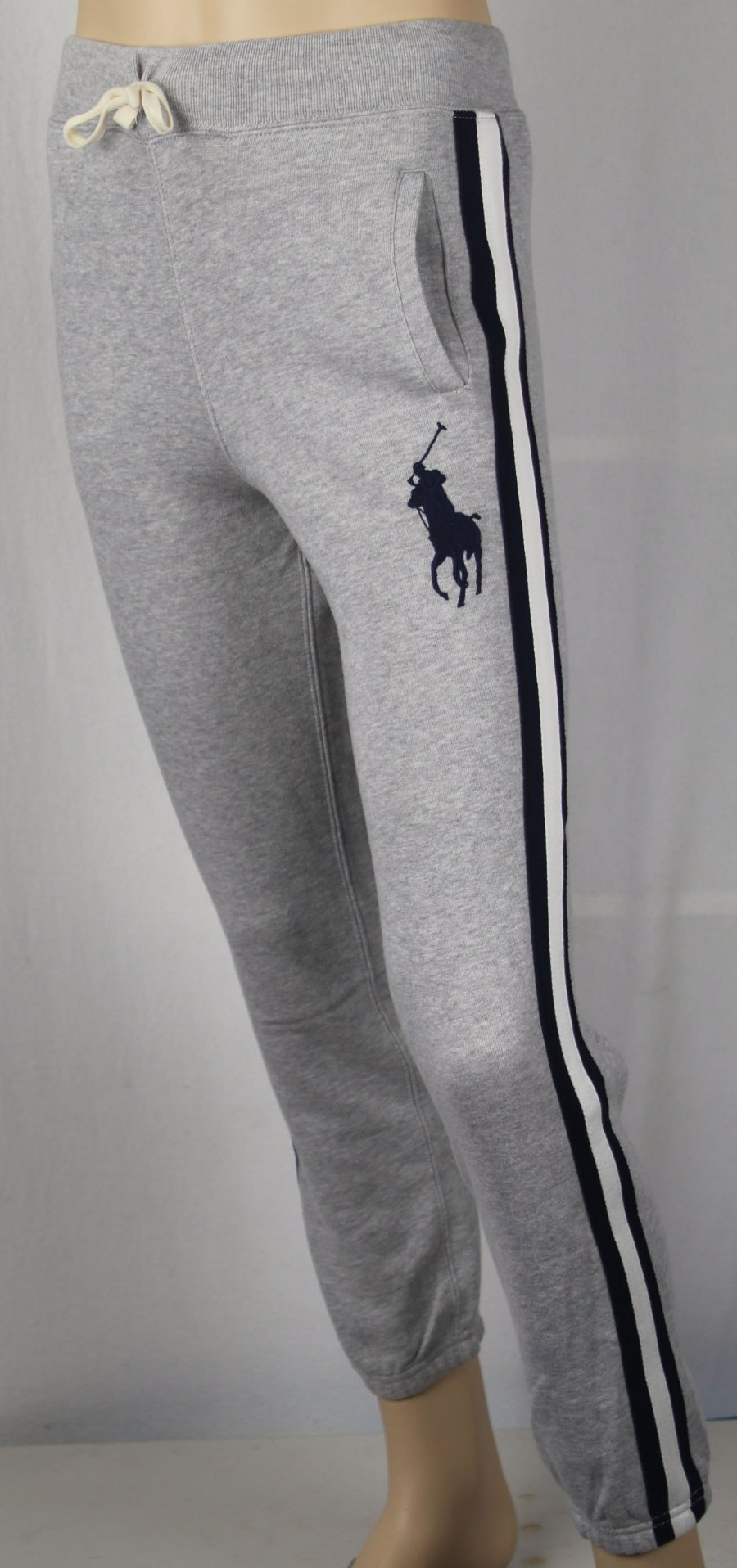 Polo Ralph Lauren Youth Grey Fleece Sweatpants Big Navy Blue Pony NWT