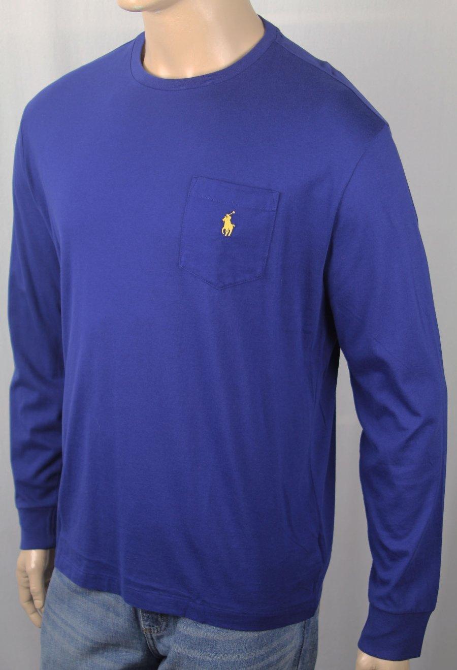 14d8bd2f1d85 Details about Polo Ralph Lauren Blue Crew Neck Classic Long Sleeve Tee T- Shirt Pocket NWT