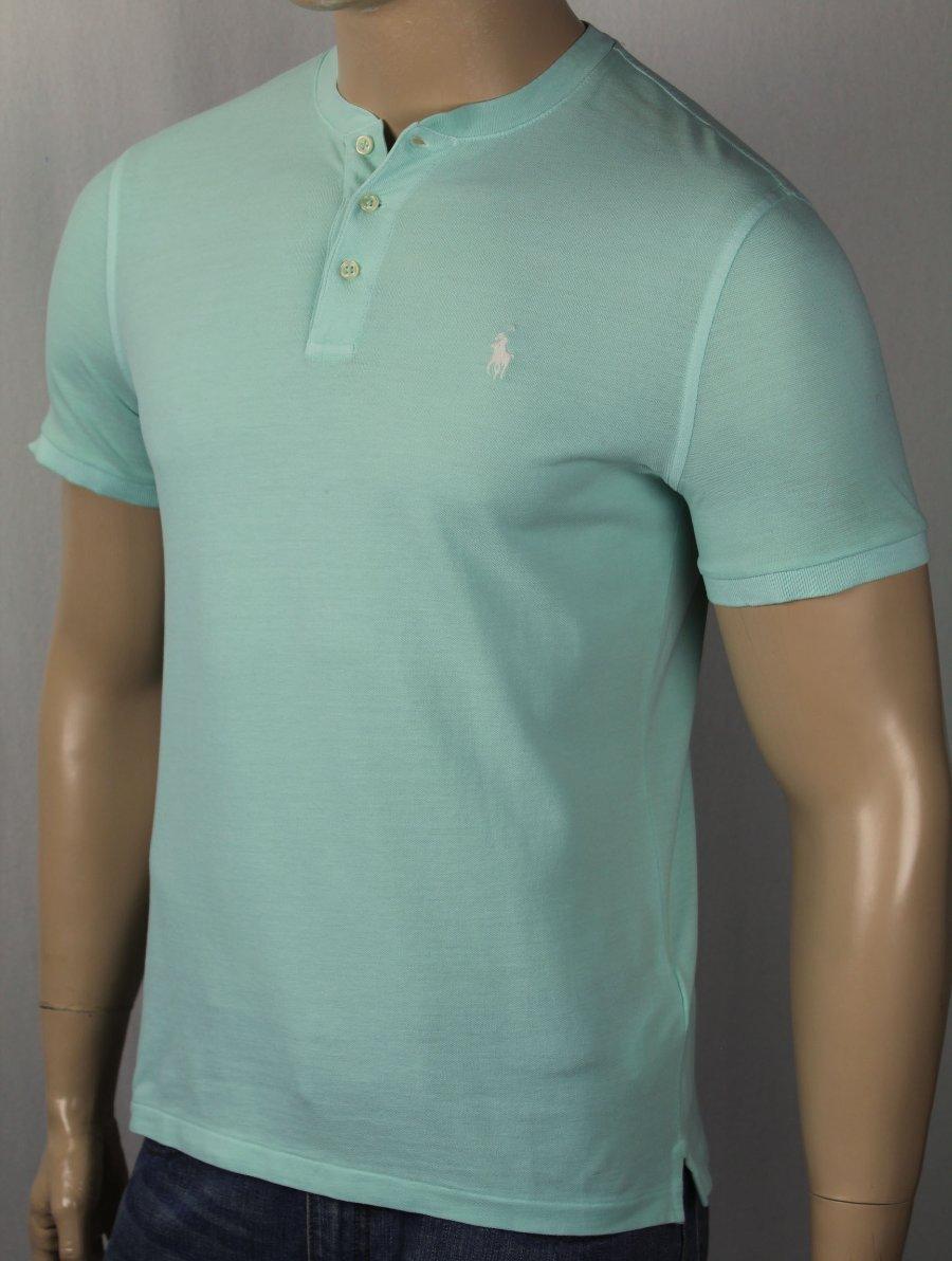 Détails sur Polo Ralph Lauren Bleu Poids Plume Maille Polo sans Col Neuf avec Étiquettes