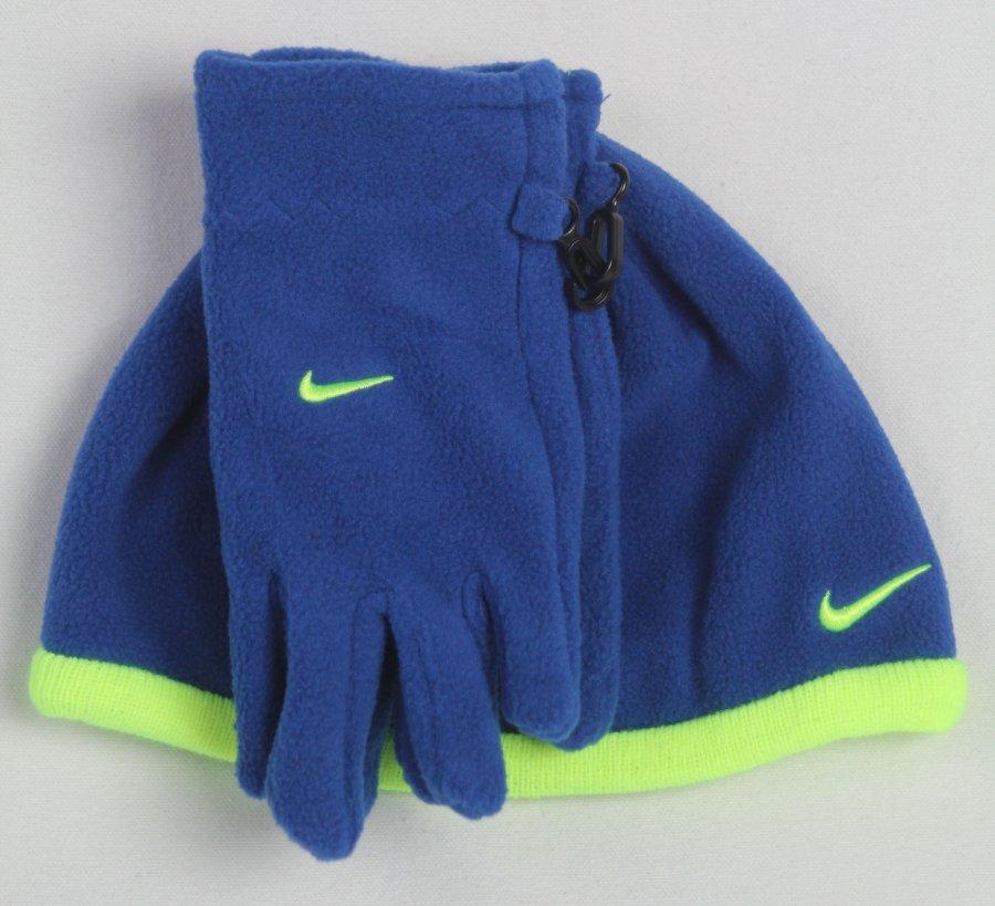 55d27f17e Nike Boys Swoosh Beanie Hat & Gloves 2PC Set Blue Yellow Size 8/20 ...