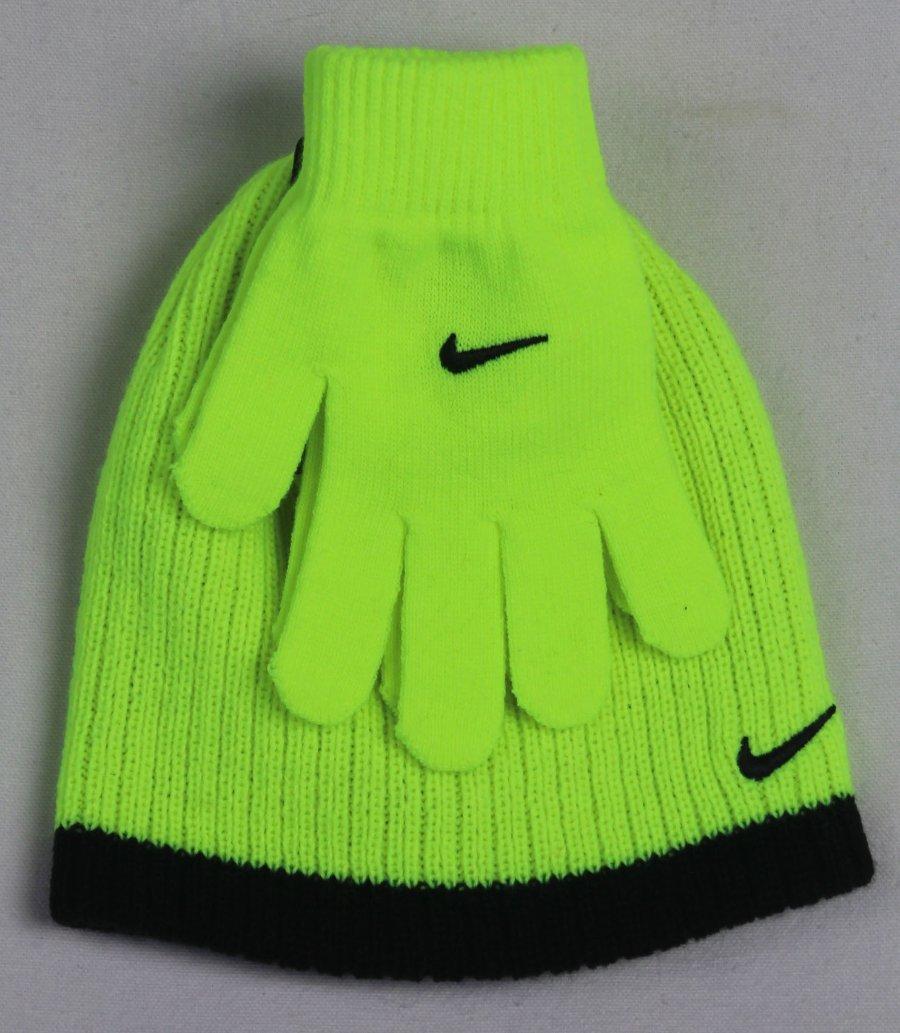 015122d25 Nike Boys Swoosh Beanie Hat & Gloves 2PC Set Yellow Black Size 8/20 ...