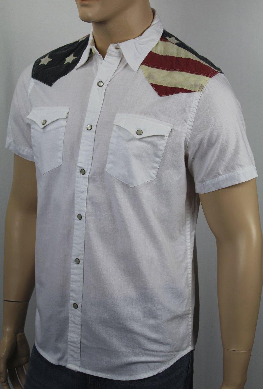 6e917098ef Details about Ralph Lauren Denim Supply White Patriotic American Flag Shirt  Snaps Pockets NWT