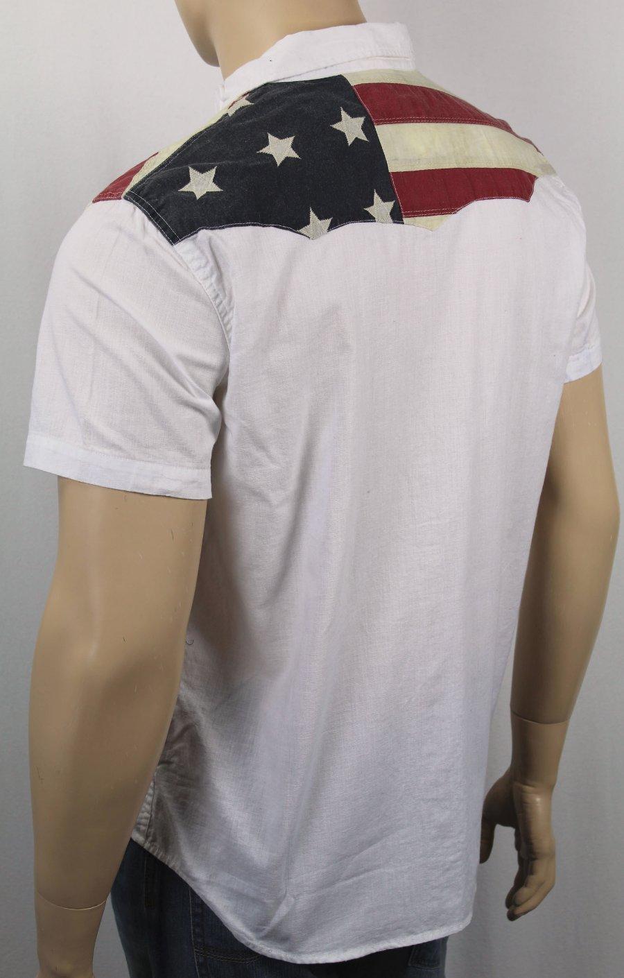 dd4798f110 Ralph Lauren Denim Supply White Patriotic American Flag Shirt Snaps ...