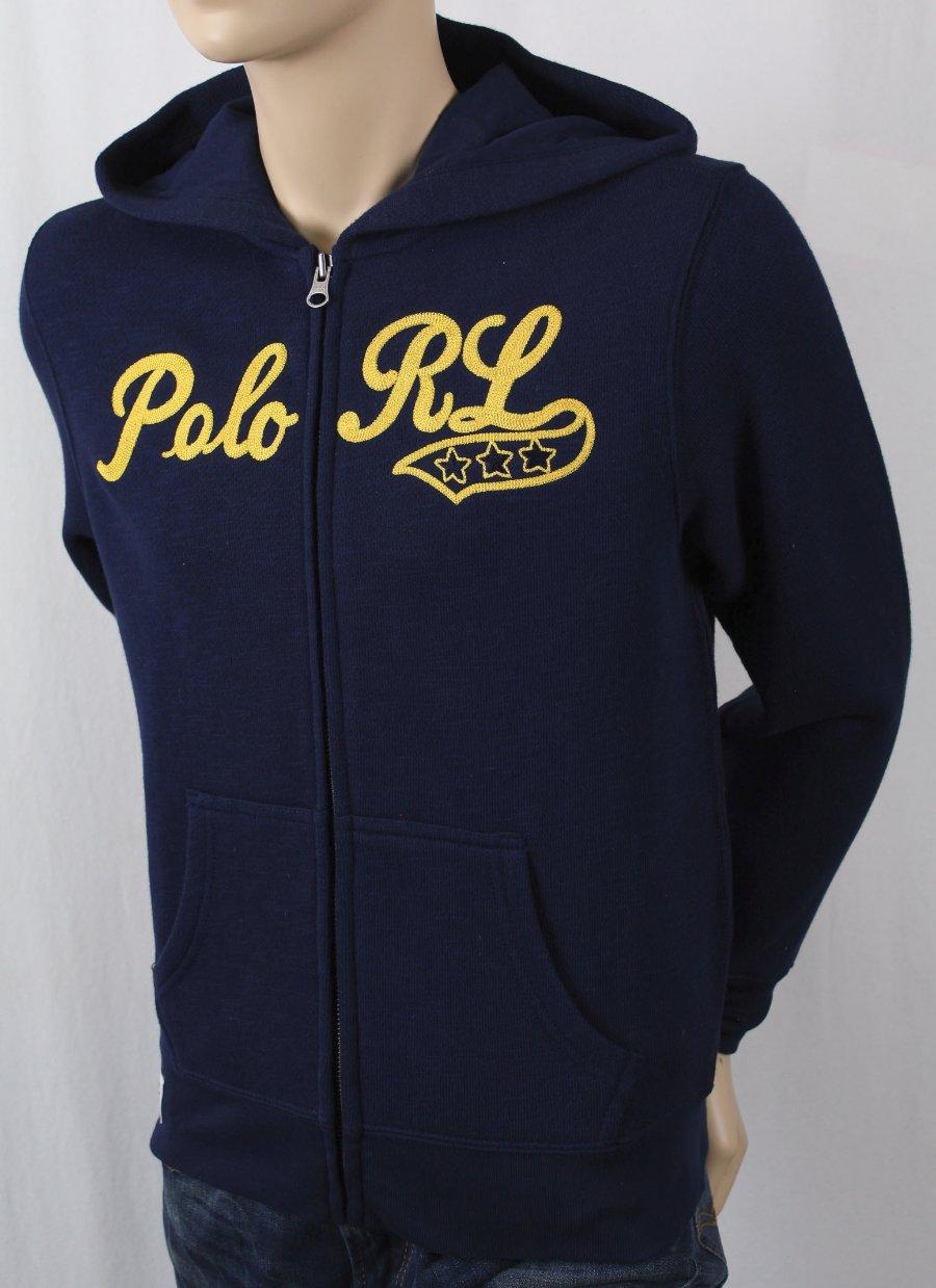 Détails sur Enfants Polo Ralph Lauren Bleu Marine Fermeture Éclair Polaire Sweat Capuche Nwt