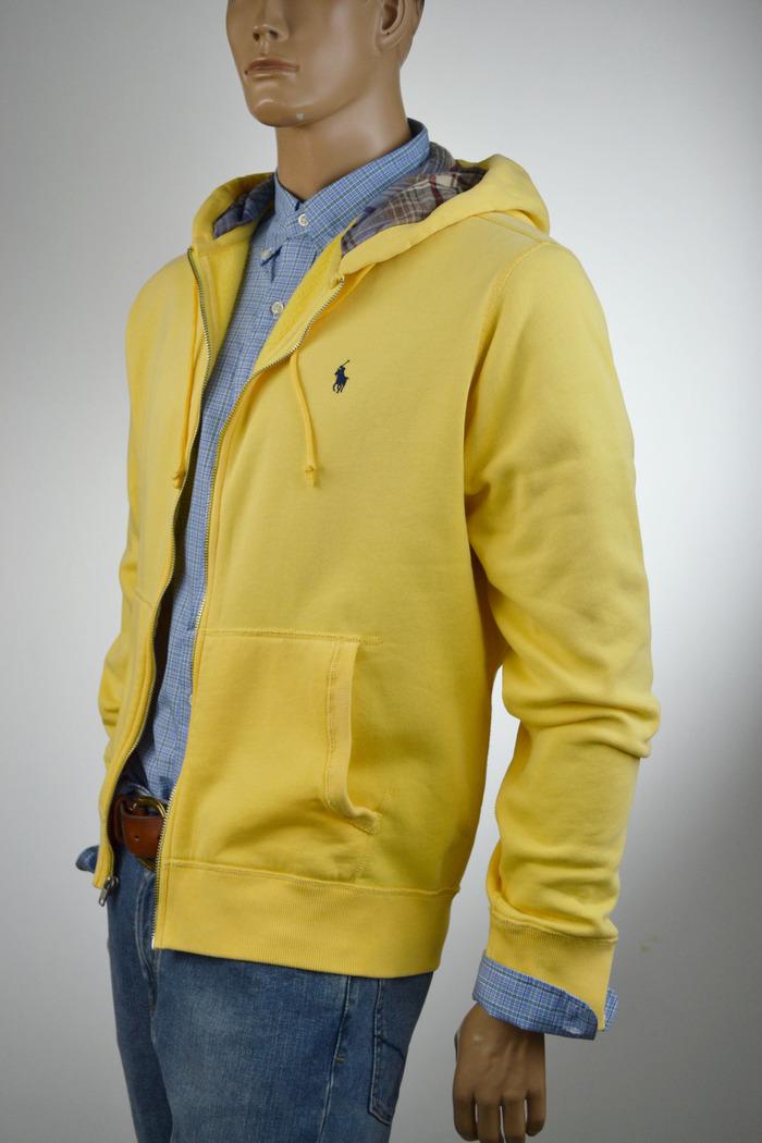 48db12ef Details about Ralph Lauren Yellow Hoodie Full-Zip Sweatshirt/ Blue Pony  XLarge NWT $125
