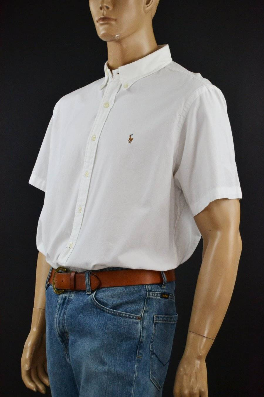 Ralph Lauren White Custom Short Sleeved Dress Shirt Multi Colored Pony NWT